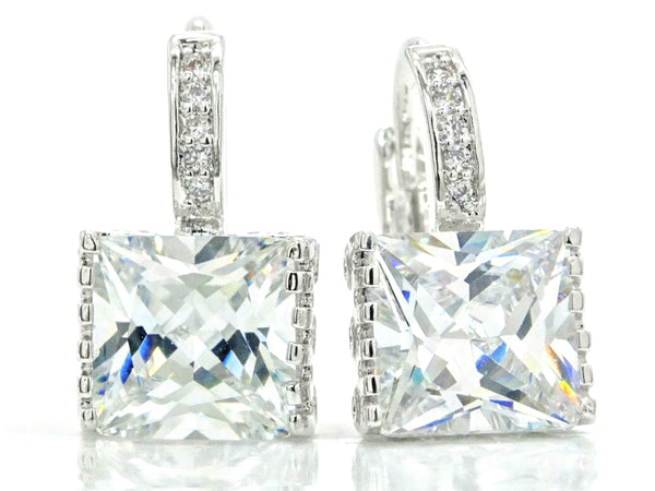 White gold princess hoop earrings MAIN