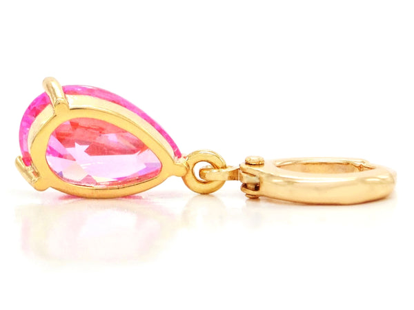 Pink raindrop yellow gold earrings BACK
