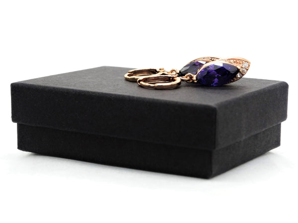 Rose gold purple marquise earrings GIFT BOX