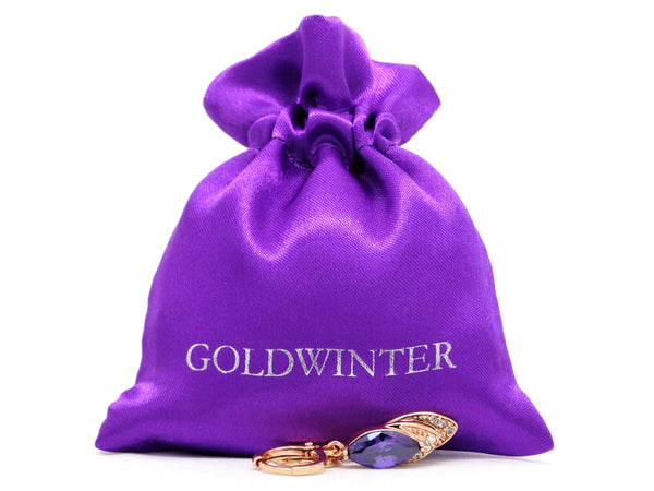Rose gold purple marquise earrings GIFT BAG