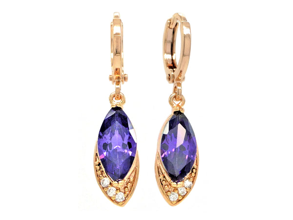 Rose gold purple marquise earrings MAIN