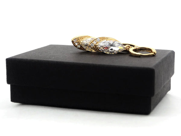 Gold clear marquise earrings GIFT BOX
