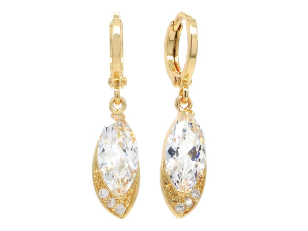 Gold clear marquise earrings MAIN