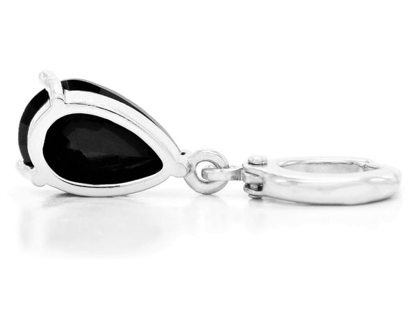 Black moonstone raindrop white gold earrings BACK