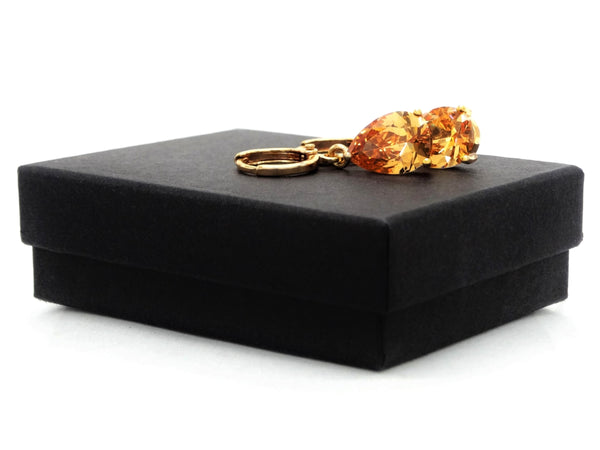 Citrine raindrop gold earrings GIFT BOX