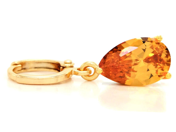 Citrine raindrop gold earrings FRONT