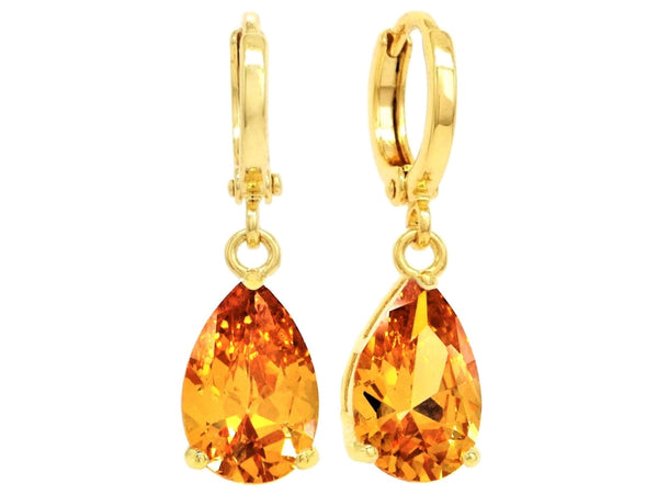 Citrine raindrop gold earrings MAIN