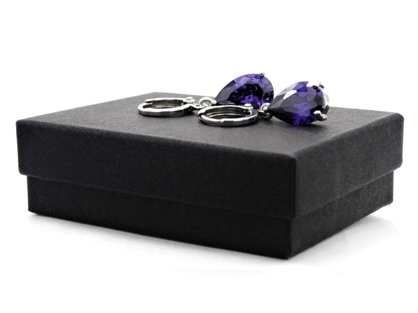 White gold purple pear gem necklace and earrings GIFT BOX