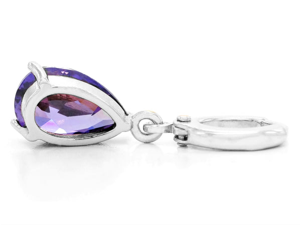White gold purple pear gem necklace and earrings BACK