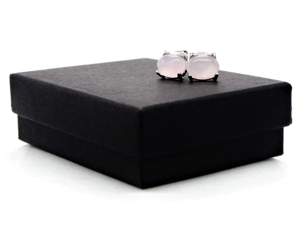 Sterling silver pink moonstone cat earrings GIFT BOX