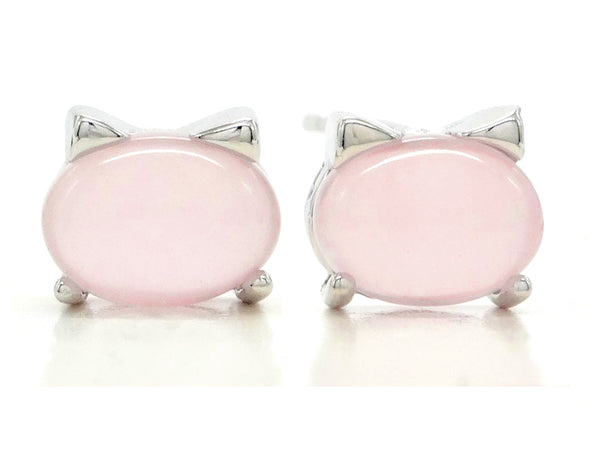 Sterling silver pink moonstone cat earrings MAIN