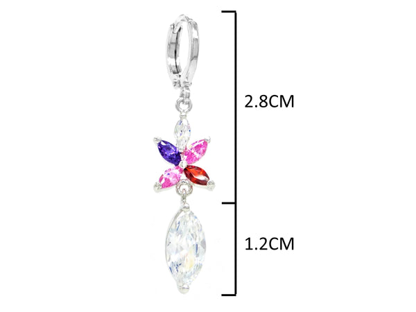 White gold different colored marquise earrings MEASUREMENT