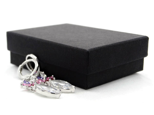White gold different colored marquise earrings GIFT BOX