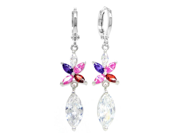 White gold different colored marquise earrings MAIN