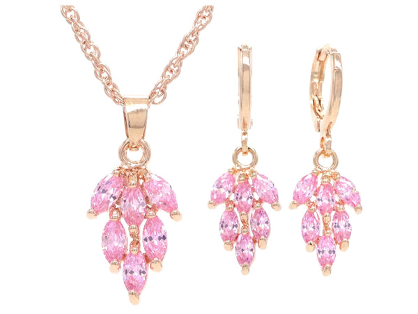 Rose gold pink leaf necklace and earrings MAIN
