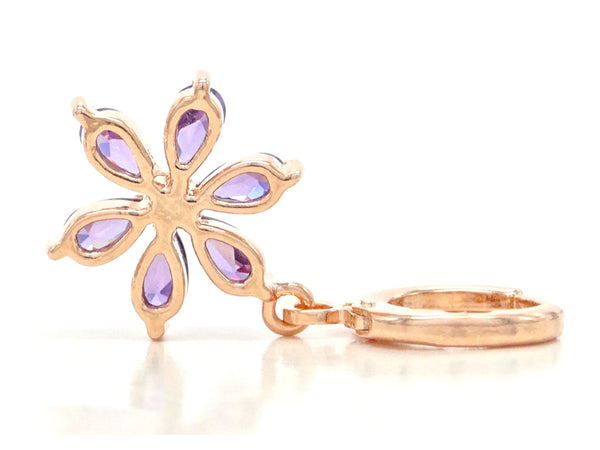 Rose gold purple raindrop flower earrings BACK