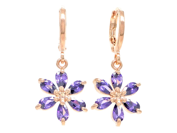 Rose gold purple raindrop flower earrings MAIN