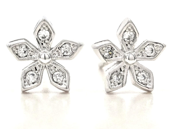 Sterling silver star flower earrings MAIN