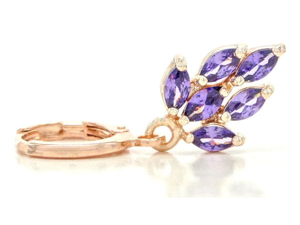 Rose Gold Purple Leaf Earrings FRONT