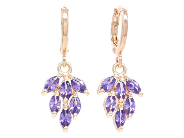 Rose Gold Purple Leaf Earrings MAIN