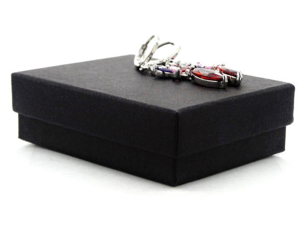 White gold red marquise earrings GIFT BOX