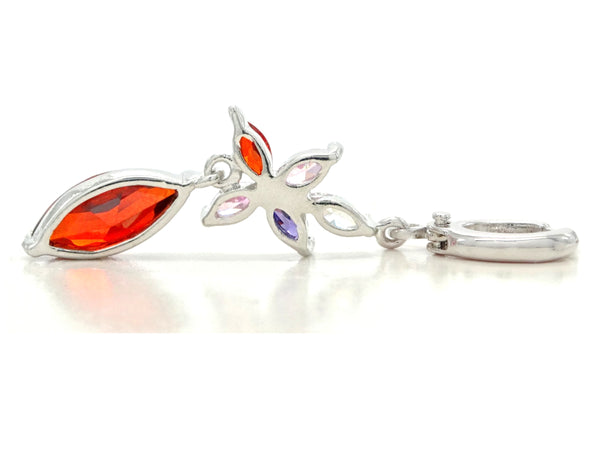 White gold red marquise earrings BACK