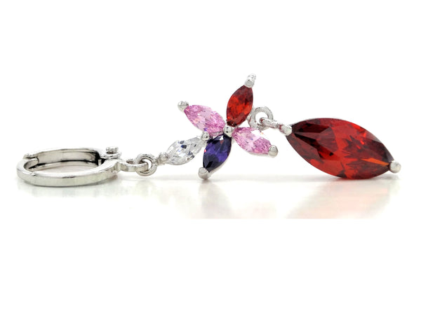 White gold red marquise earrings FRONT