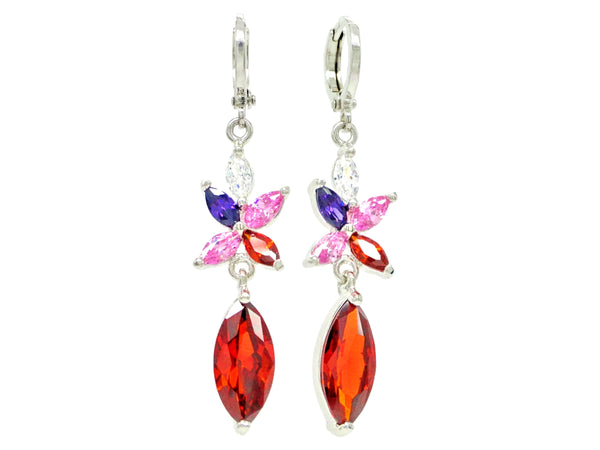 White gold red marquise earrings MAIN