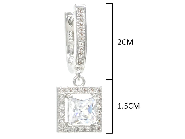 Sterling silver princess gem earrings MEASUREMENT