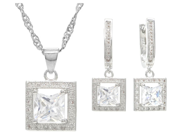 Sterling silver princess necklace and earrings MAIN