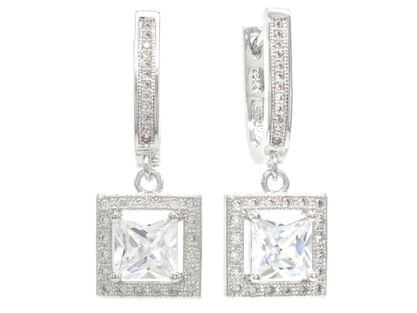 Sterling silver princess gem earrings MAIN