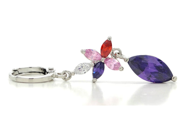 White gold purple marquise earrings FRONT