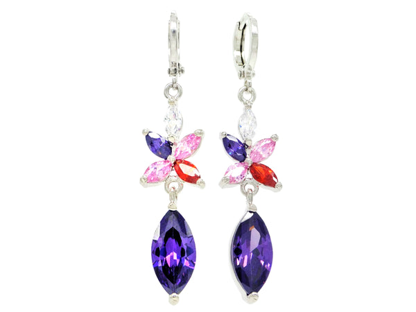 White gold purple marquise earrings MAIN