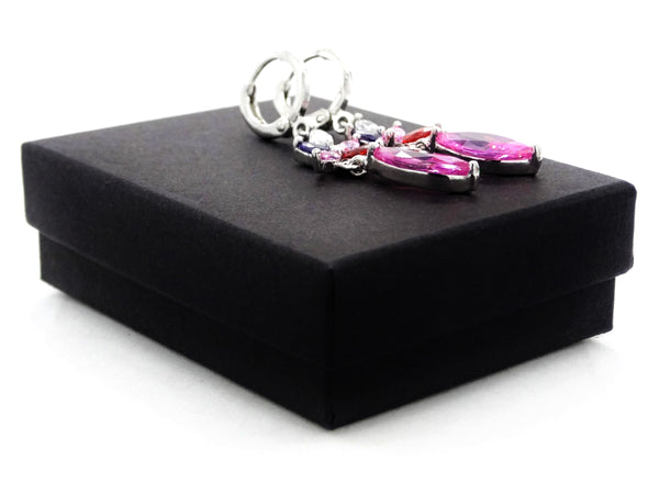 White gold pink marquise earrings GIFT BOX