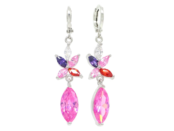 White gold pink marquise earrings MAIN