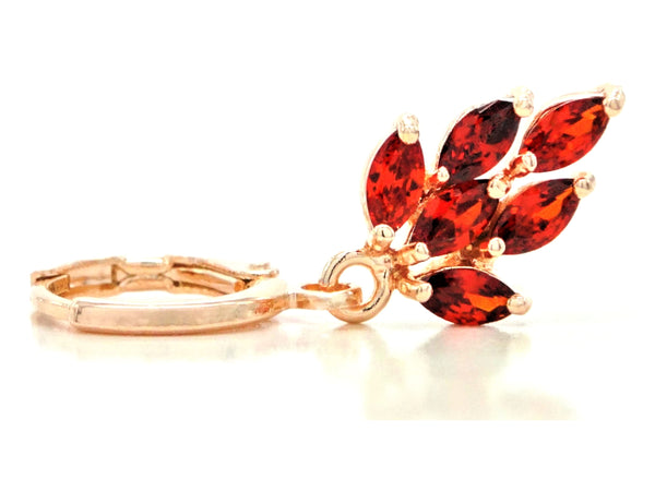 Rose gold red leaf earrings FRONT