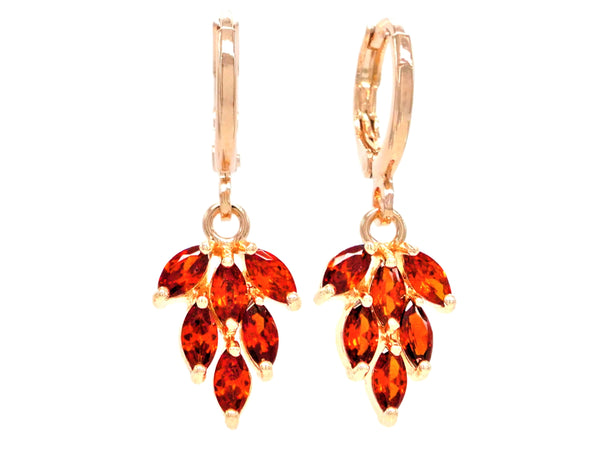 Rose gold red leaf earrings MAIN