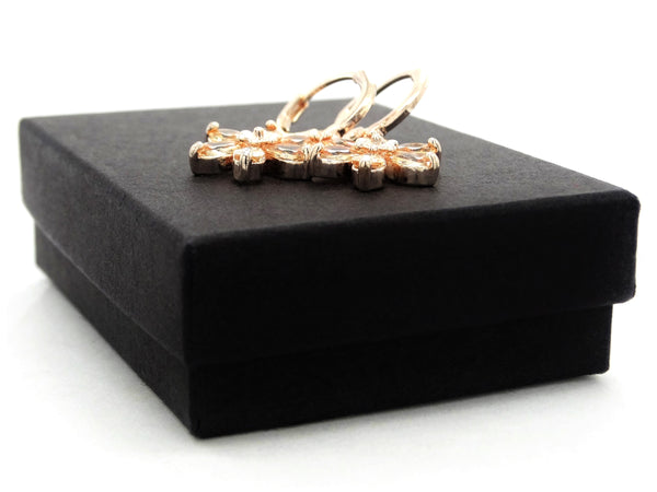Rose gold citrine leaf earrings GIFT BOX