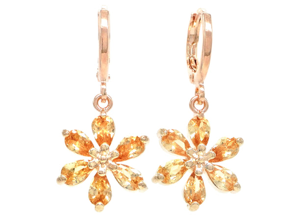 Rose gold citrine leaf earrings MAIN
