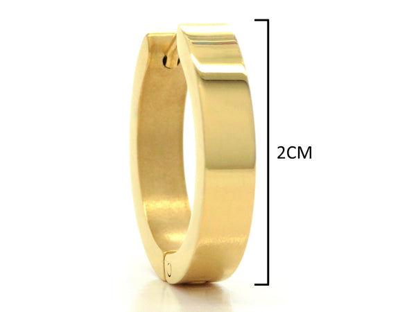 Gold plain big hoop earrings MEASUREMENT