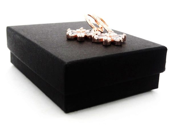 Rose gold clear leaf earrings GIFT BOX