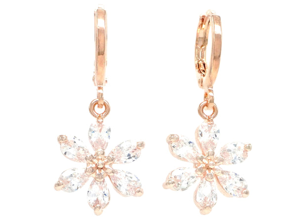 Rose gold clear leaf earrings MAIN