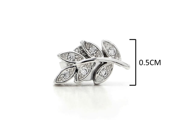 Silver leaf branch stud earrings MEASUREMENT