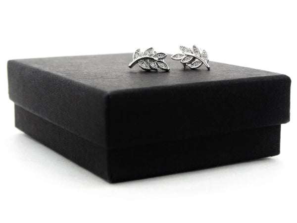 Silver leaf branch stud earrings GIFT BOX