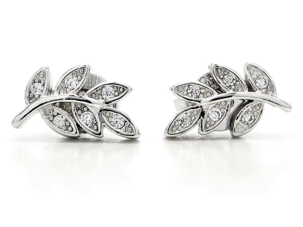 Silver leaf branch stud earrings MAIN