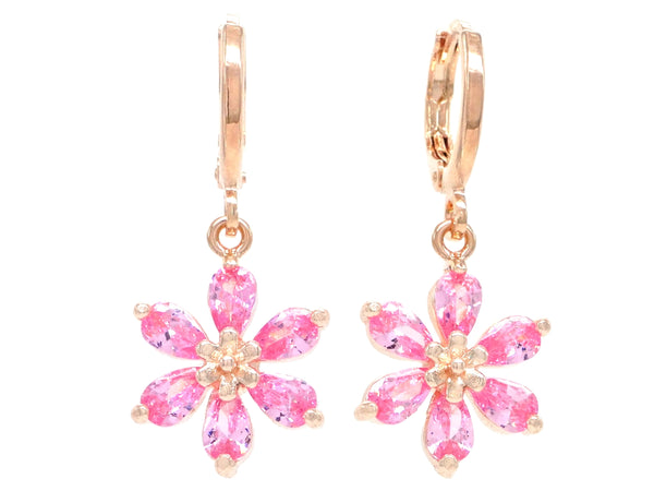 Rose gold pink leaf earrings MAIN