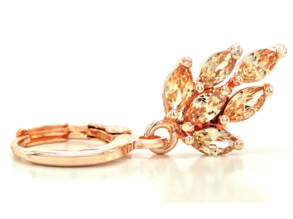 Rose gold citrine leaf earrings FRONT