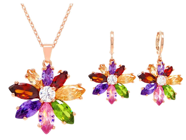 Rose gold rainbow flower set MAIN