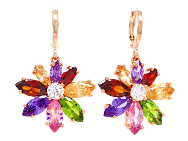 Rose gold rainbow flower earrings MAIN