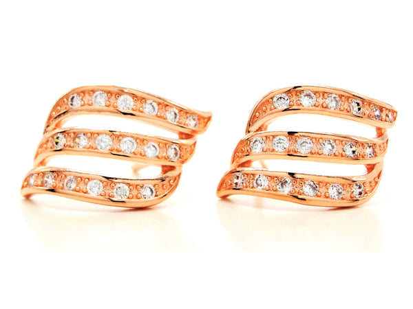 Rose gold lines stud earrings MAIN